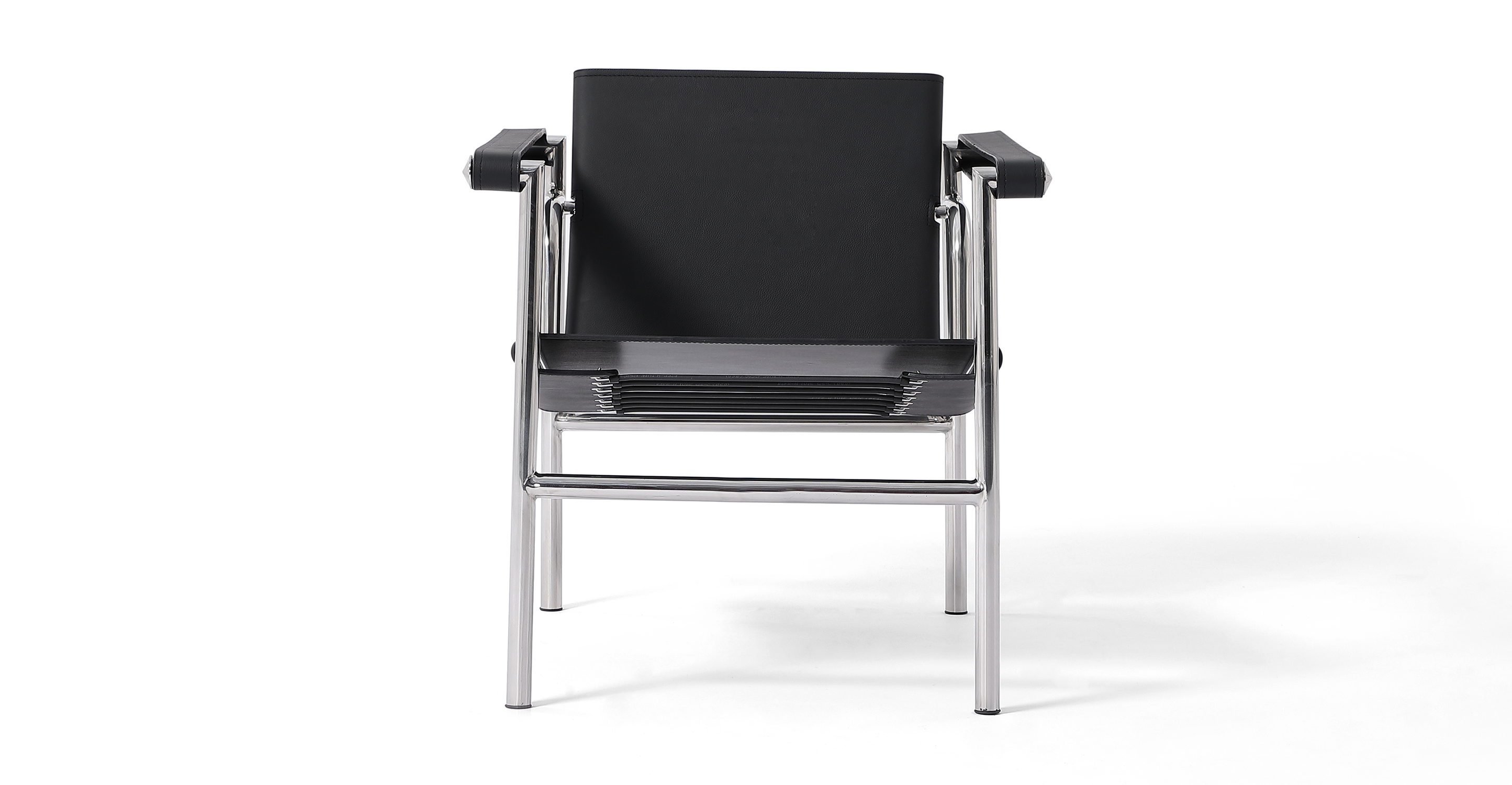 Basculant Sling Leather Chair, Black