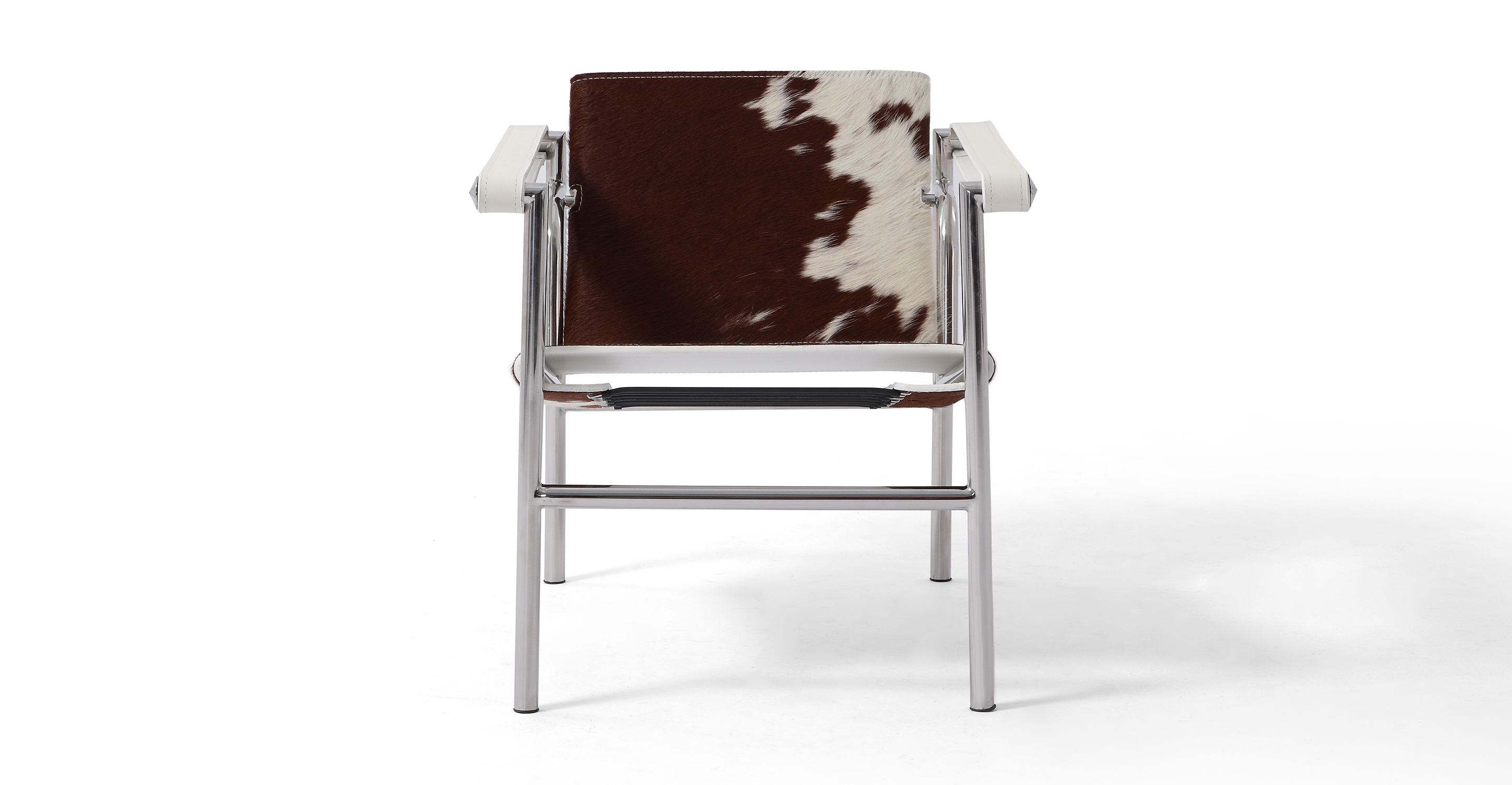 Basculant Sling Leather Chair, Brown & White Cowhide
