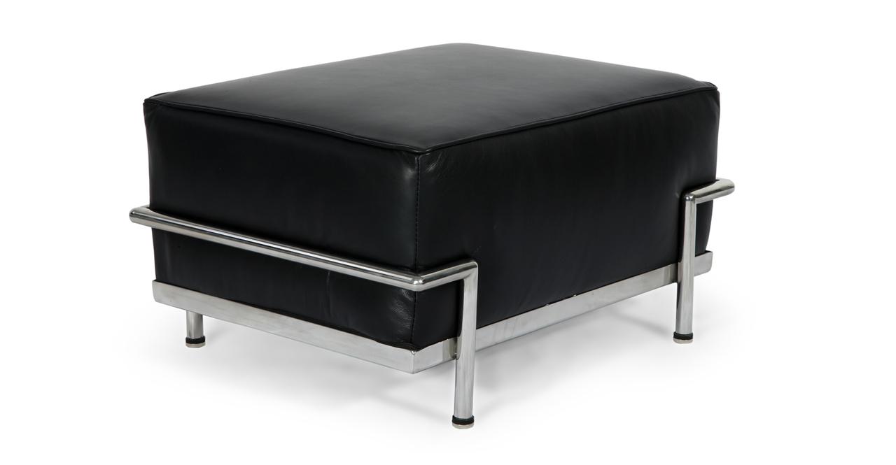 Roche Ottoman, Black Premium Leather