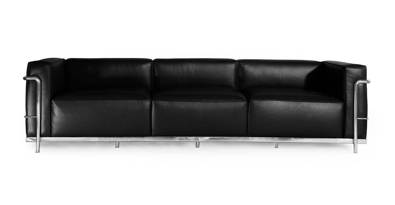 """Roche 93"""" Leather Sofa, Black Premium"""