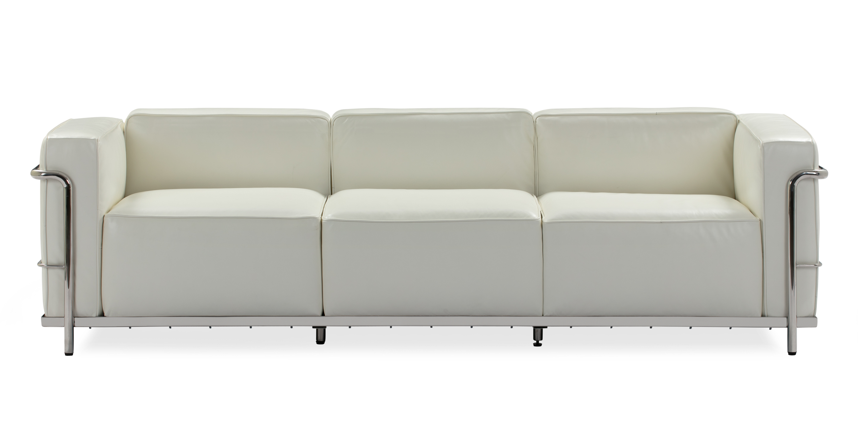 "Roche 89"" Leather Sofa, White"