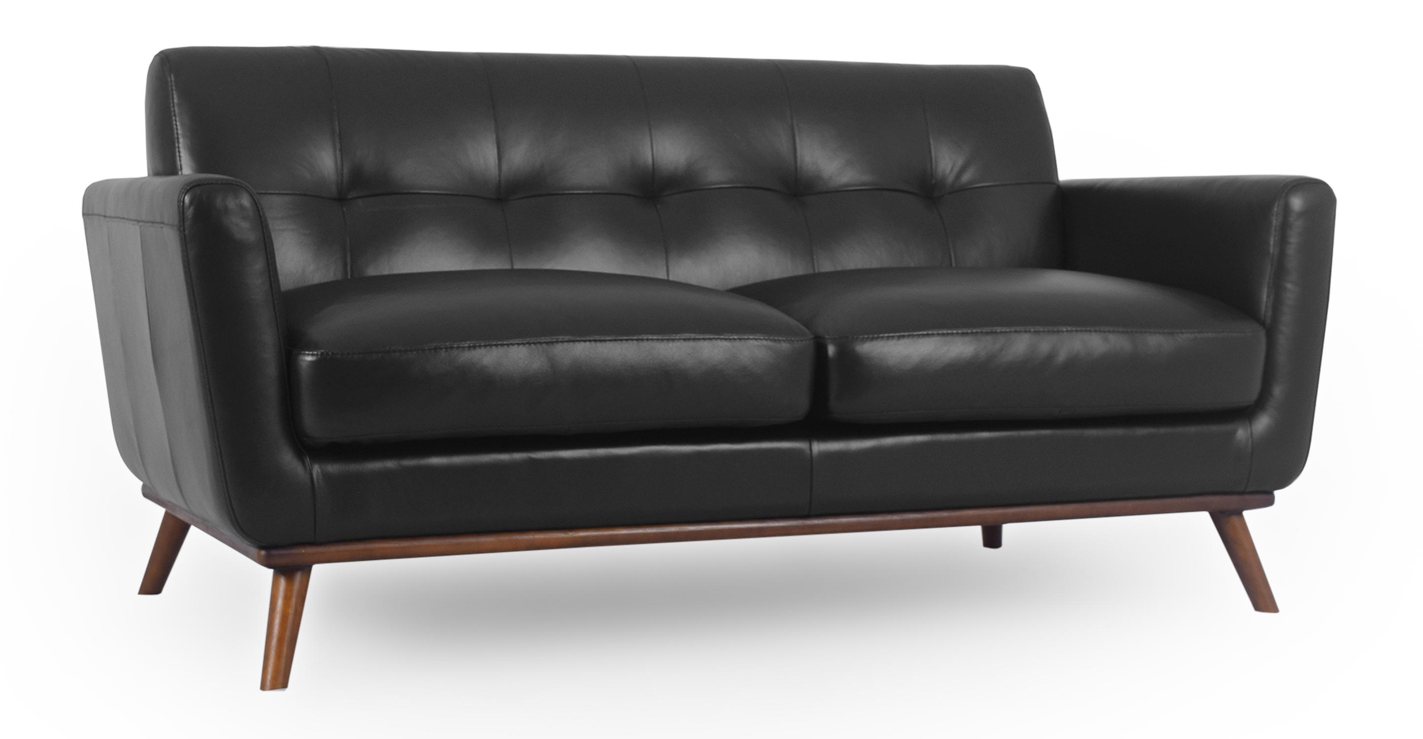 """Jackie 67"""" Sofa Leather, Black"""