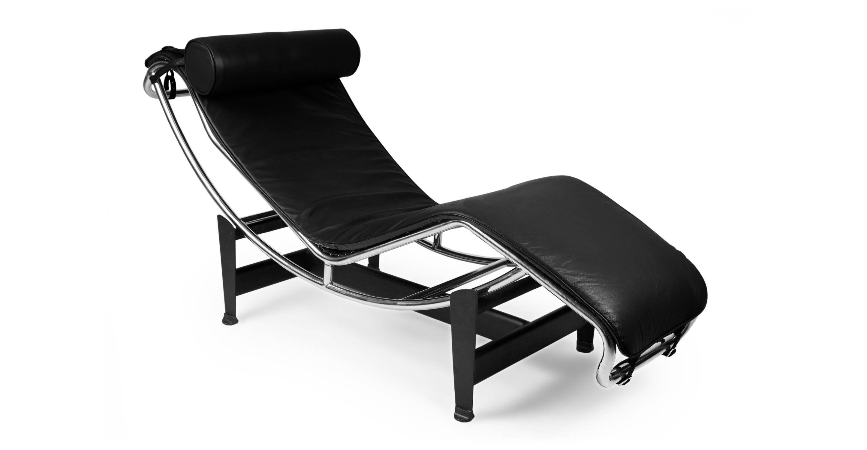 Modern Chaise Lounger Black Leather Kardiel