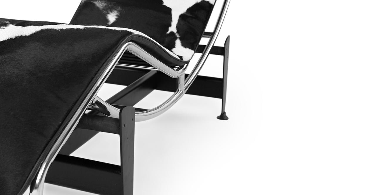 Gravity Chaise Lounge, Black/White Cowhide