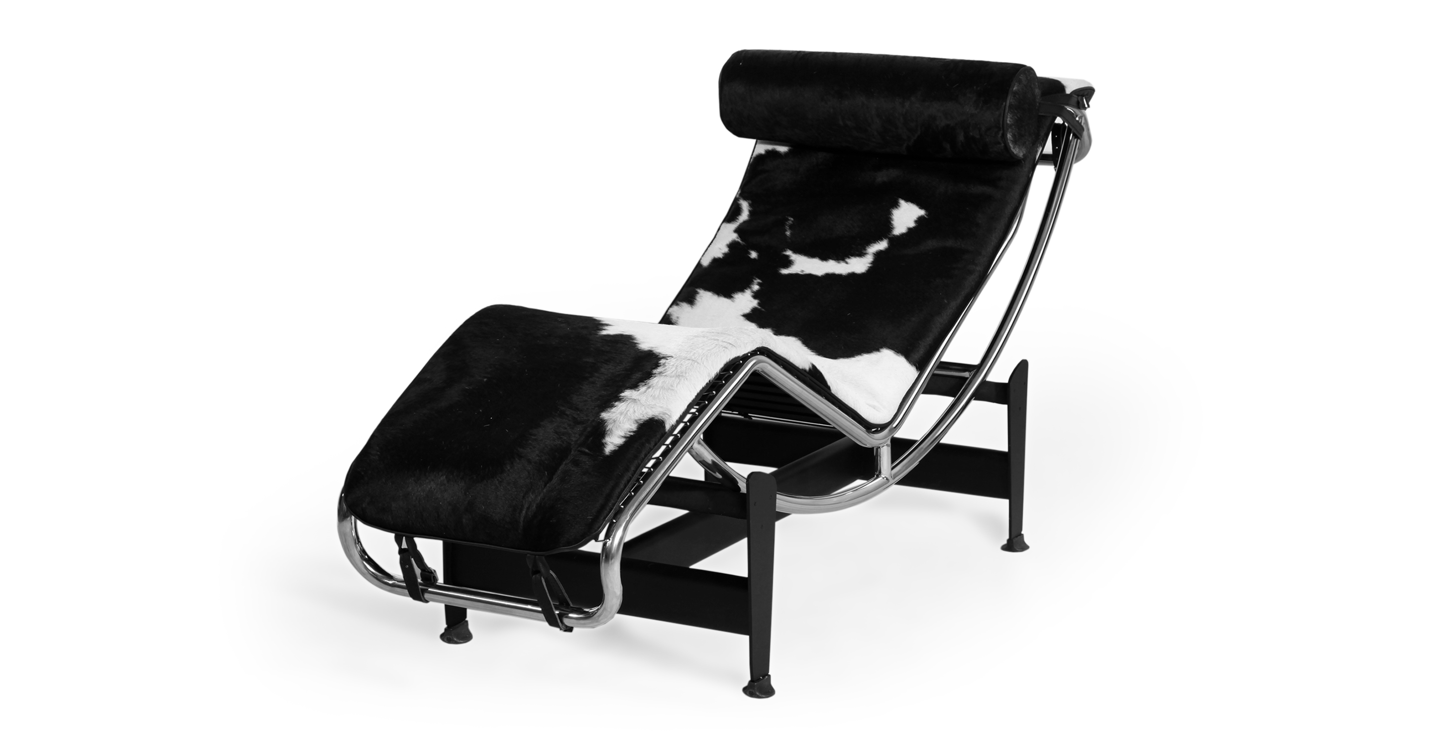 Gravity Chaise Lounge, Black & White Cowhide