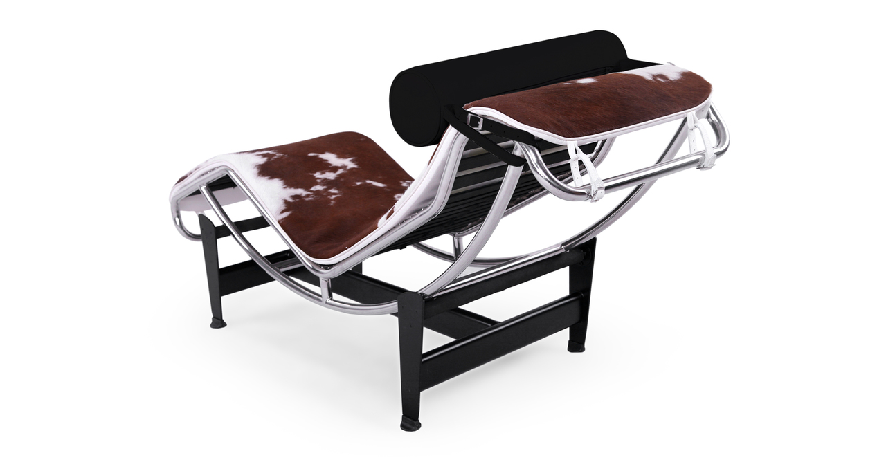 Gravity Chaise Lounge, Brown/White Cowhide