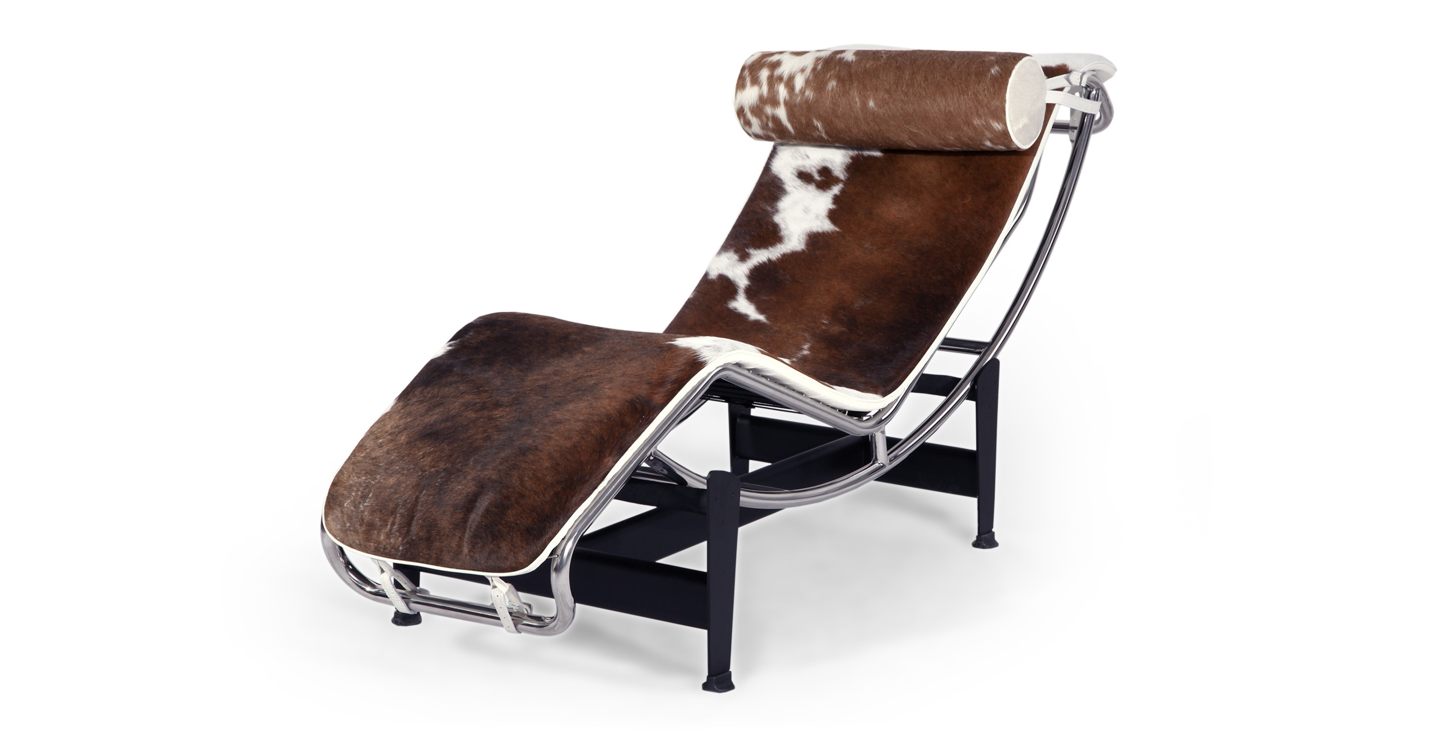 Gravity Chaise Lounge, Brown & White Cowhide