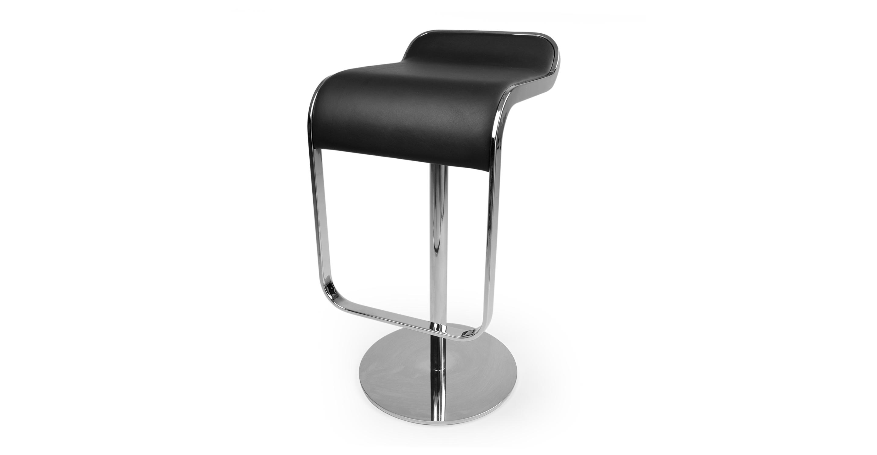 Lem Piston Leather Barstool, Black Italian