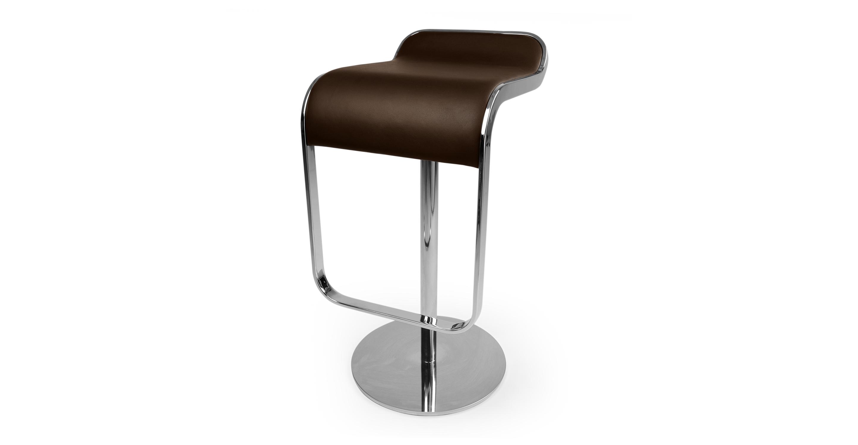 Lem Piston Leather Barstool, Choco Brown Italian