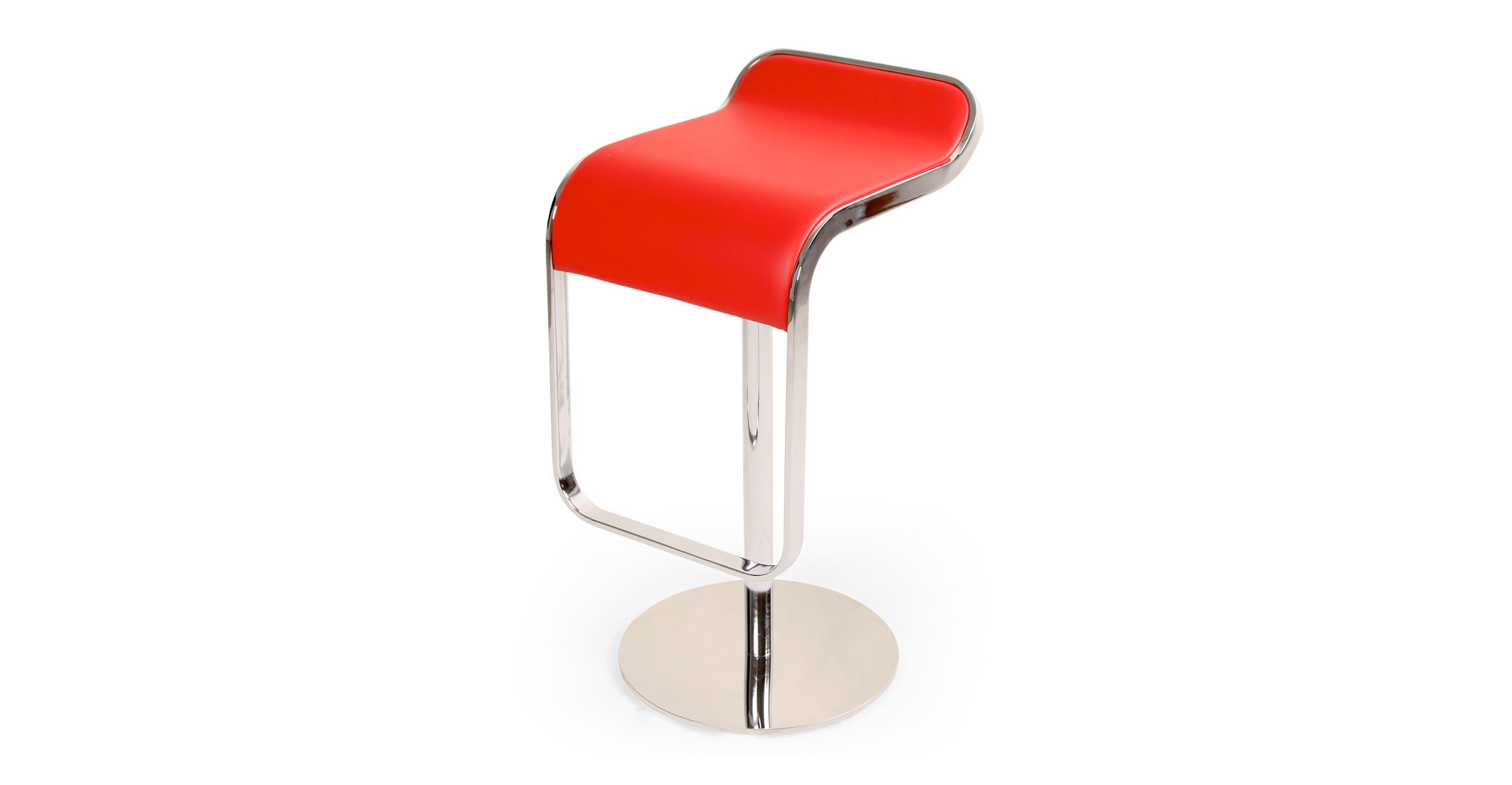 Lem Piston Leather Barstool, Red Italian