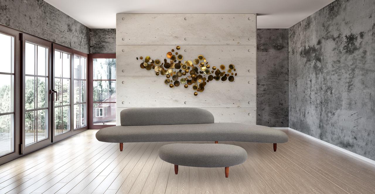 Kidney Bean Sofa & Ottoman, Cadet Grey
