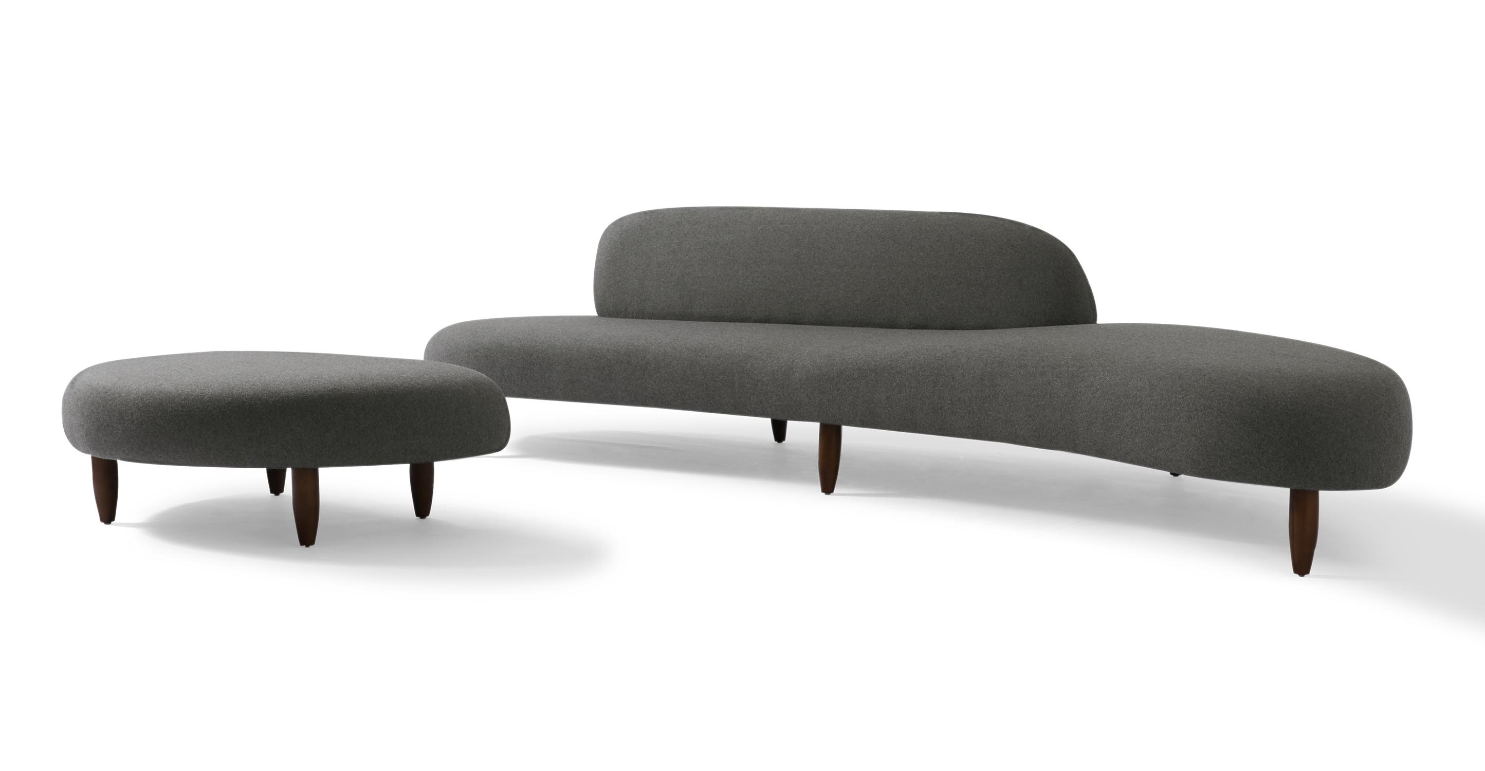 "Kidney Bean 118"" Fabric Sofa & Ottoman, Cadet Grey"