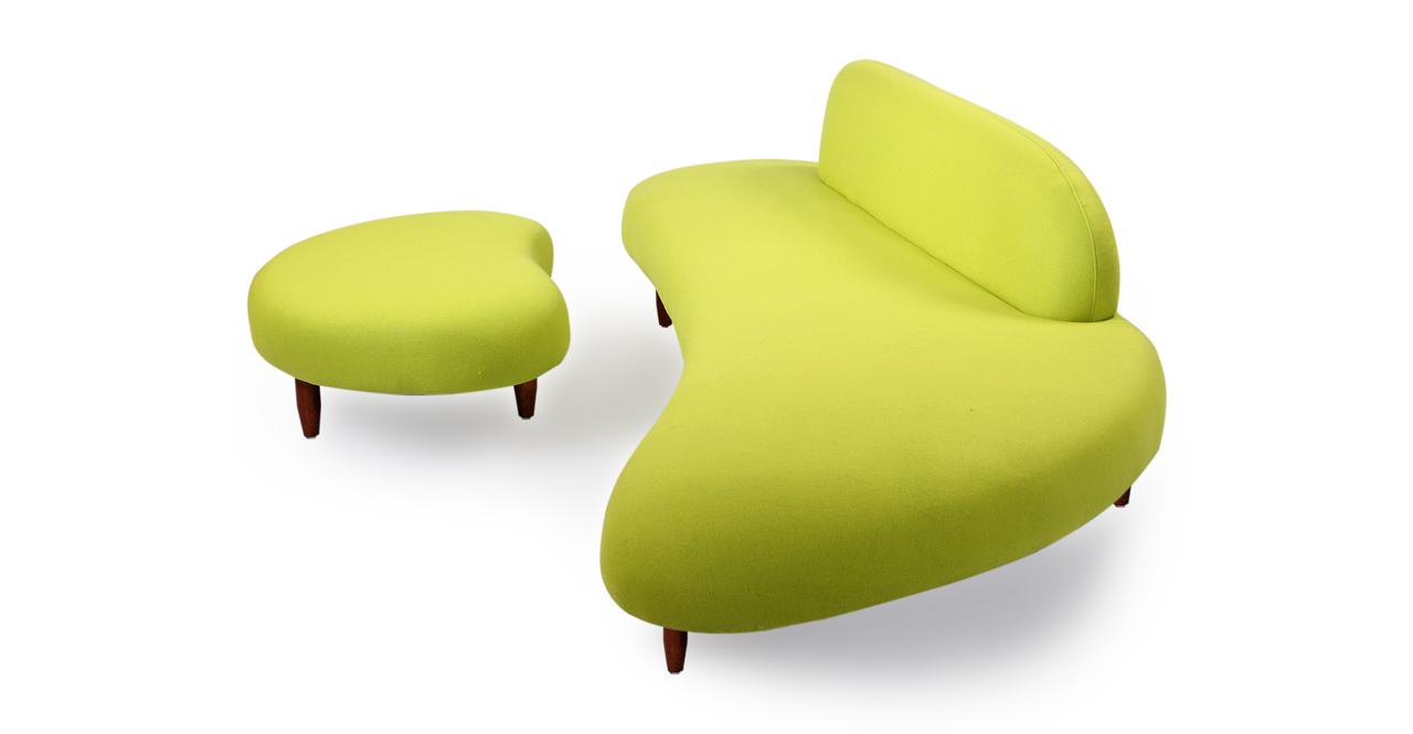 Kidney Bean Sofa & Ottoman, Lime Green