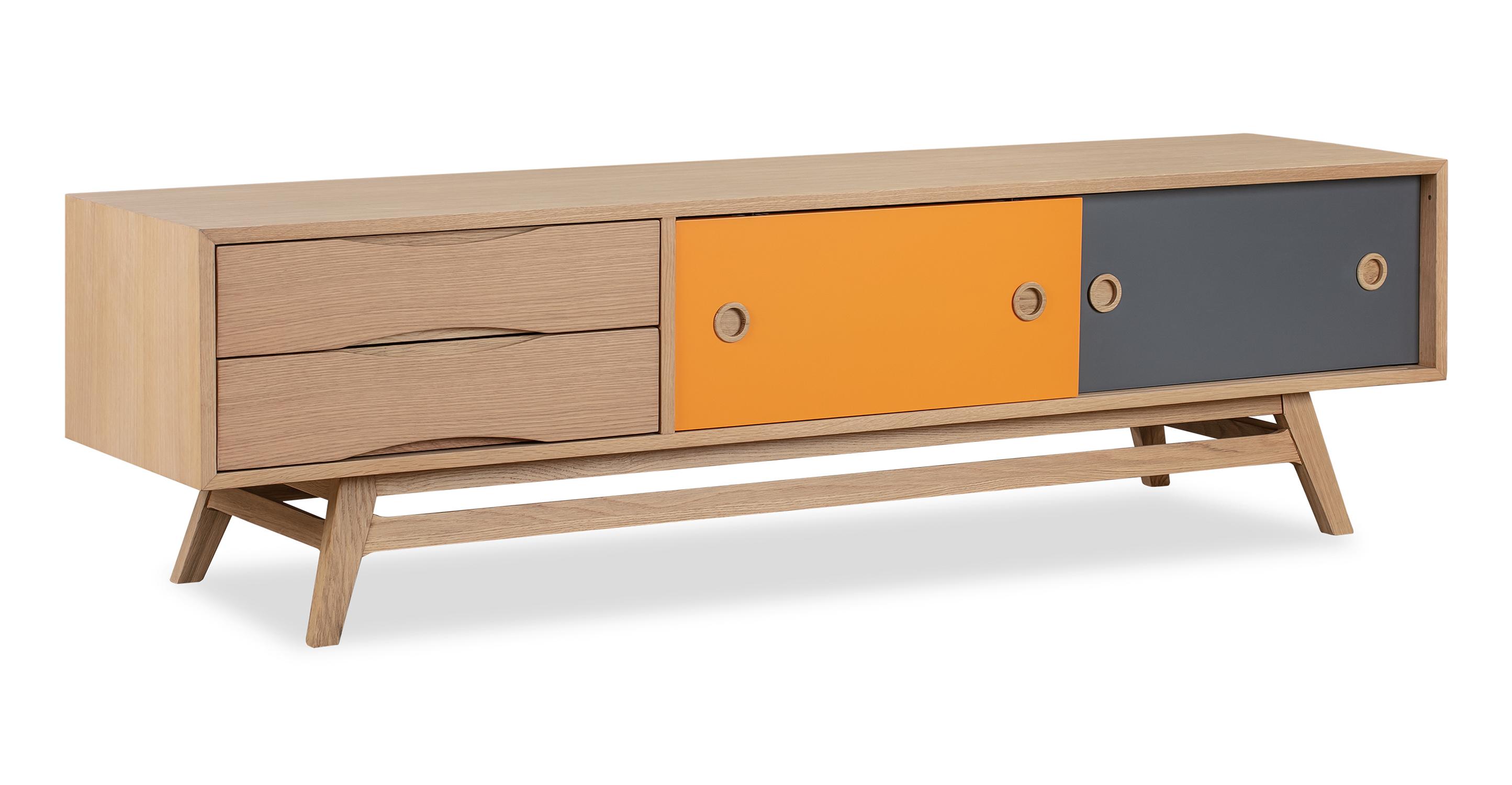 """Color Pop 70"""" Media Cabinet Orange/Charcoal, Natural Oak"""