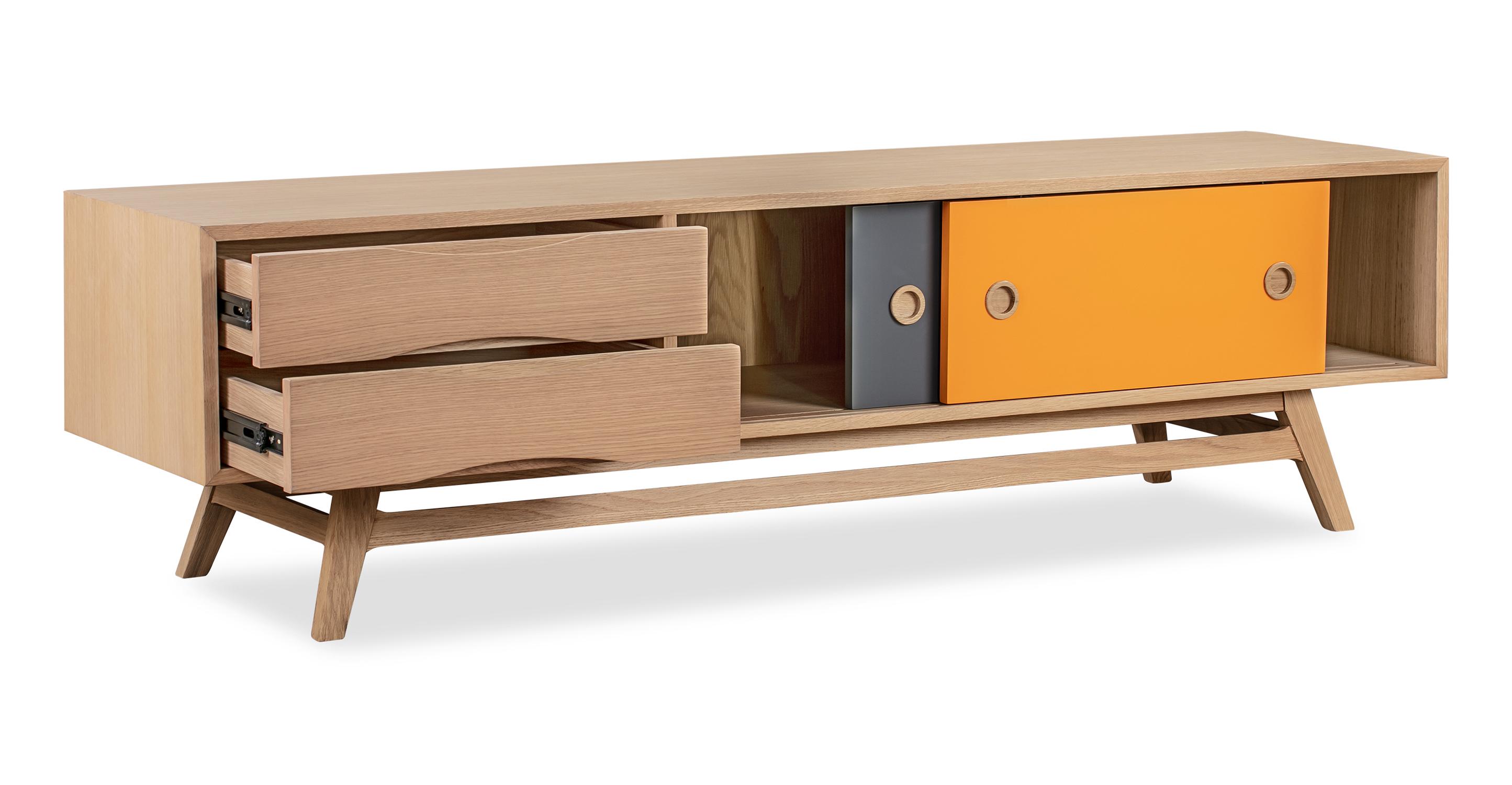 """Color Pop 70"""" Media Cabinet, Oak/Orange/Charcoal"""