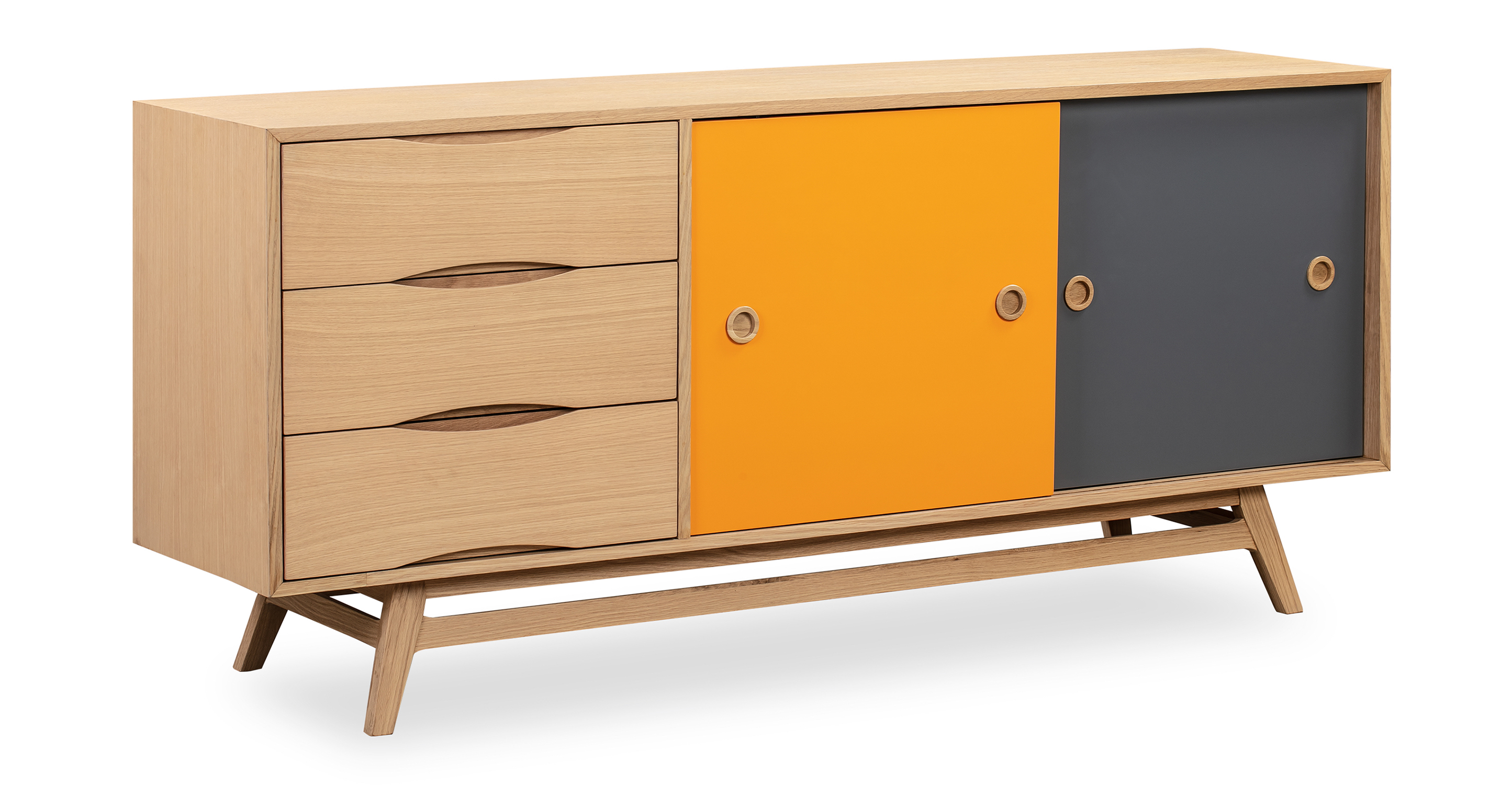"""Color Pop 70"""" Credenza Orange/Charcoal, Natural Oak"""