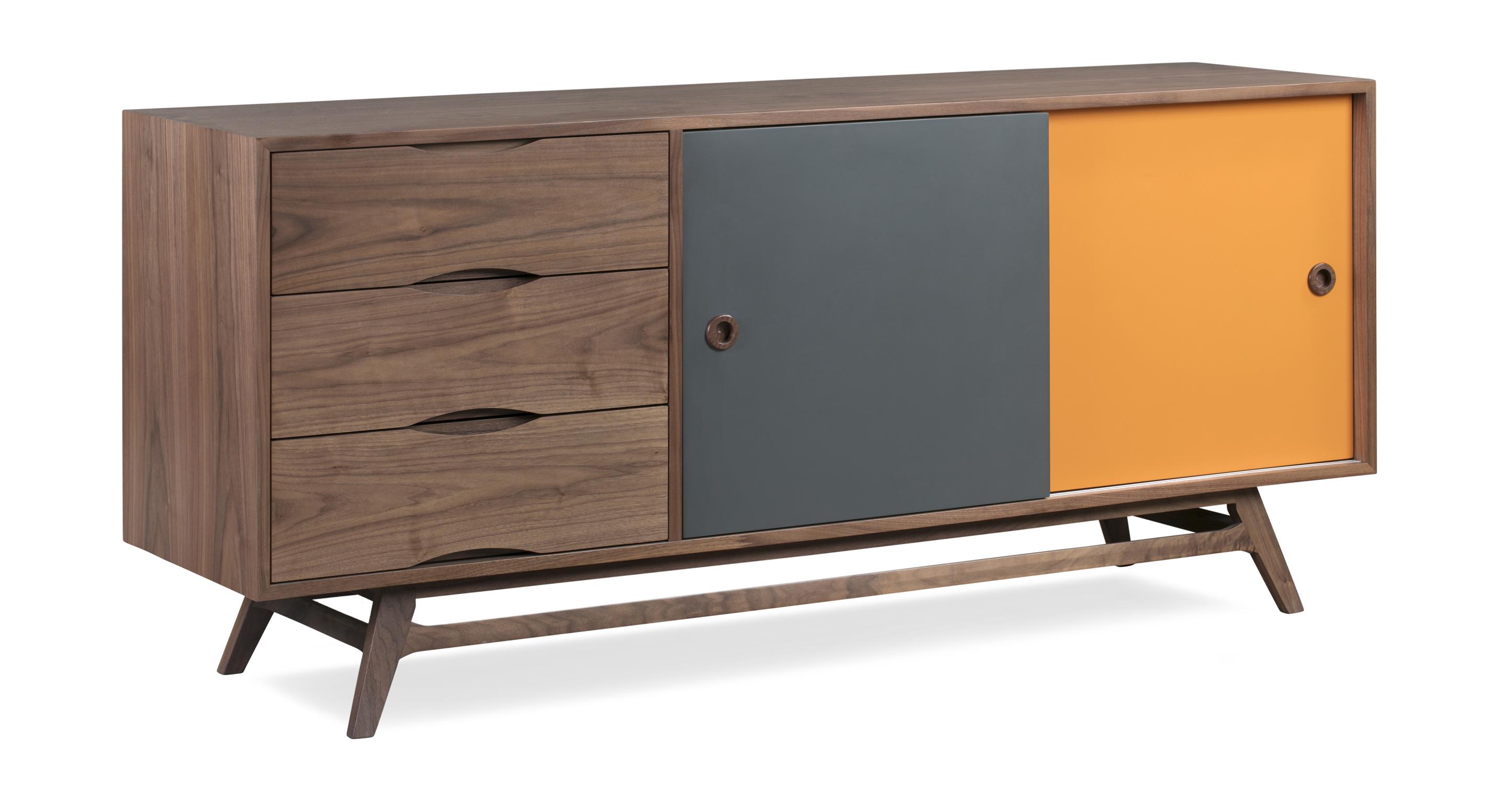 "Color Pop Credenza, Walnut/Orange/Charcoal 70.8"""