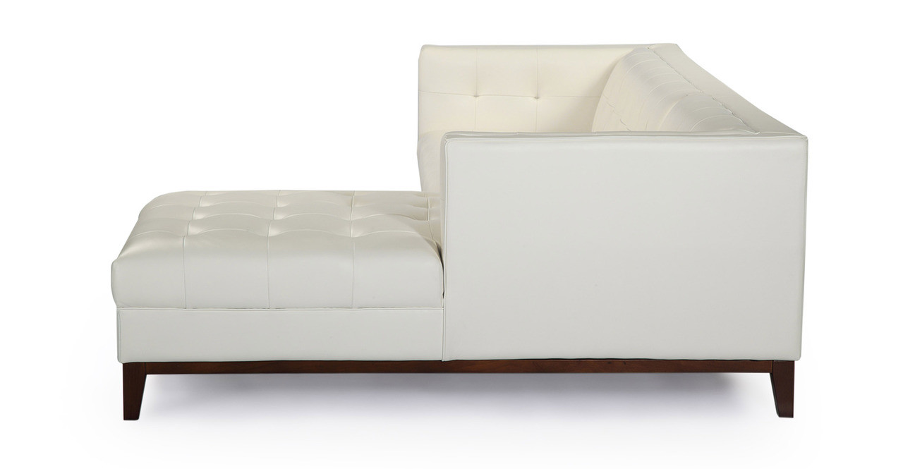 Harrison Chaise Sectional-Right, White Premium Leather - Kardiel
