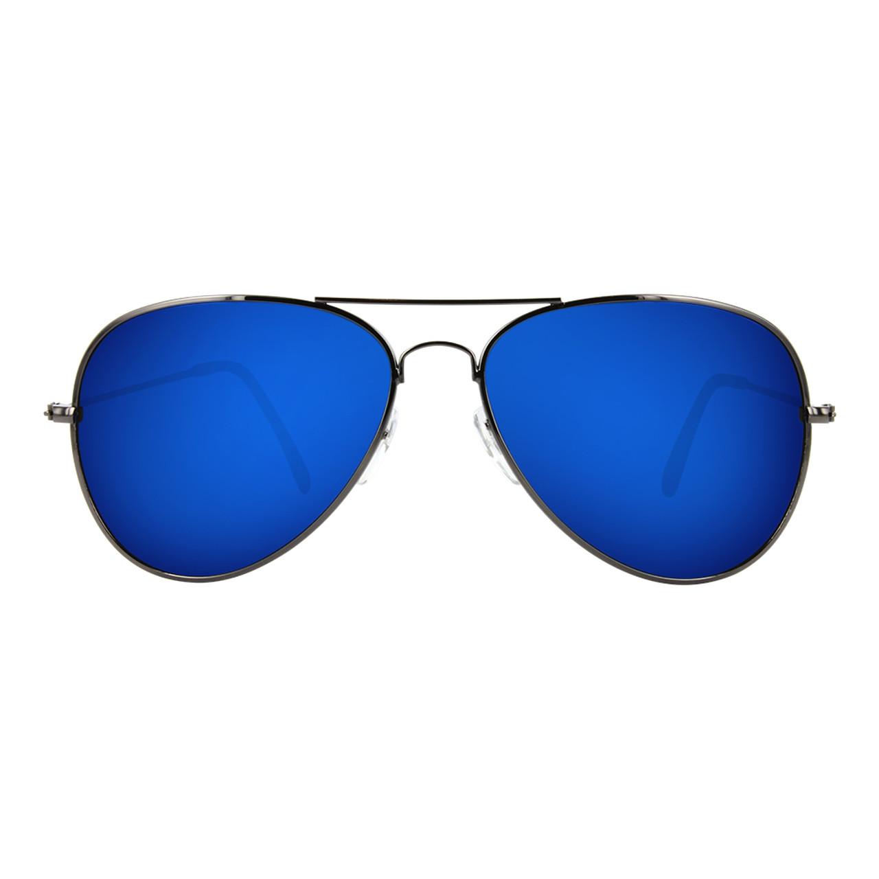 GEEK COUTURE Aviator Sunglasses Blue Mirror
