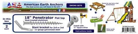 (PE18SQ-Swing60) 18-inch Anchor Kit - Slant Bracket