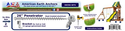 (PE26-Swing24) Swing Set 26-inch Anchor Kit - 2x4, 2x6 Bracket