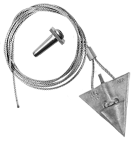 (6AL-120QV) 6-inch aluminum arrowhead with 120-inch cable and Quickvise