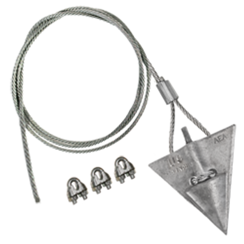 (8AL-60CC) 8-inch aluminum arrowhead with 60-inch cable and cable clamps
