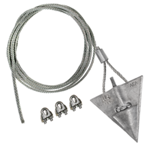(10AL-72CC) 10-inch aluminum arrowhead with 72-inch cable and cable clamps