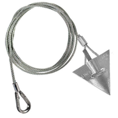 (4AL-48TH-Mil) MILITARY SPEC 4-inch aluminum arrowhead anchor with 48-inch cable and thimble loop