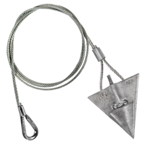(8AL-60TH-Mil) MILITARY SPEC 8-inch aluminum arrowhead with 60-inch cable and thimble loop