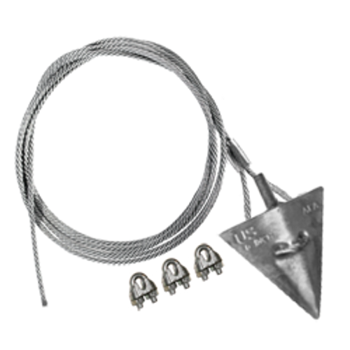 (6AL-60CC) 6-inch aluminum arrowhead with 60-inch cable and cable clamps