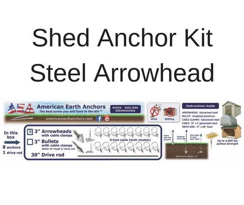 (3ST-60CC-B8) Shed Anchor Kit - Steel Arrowhead