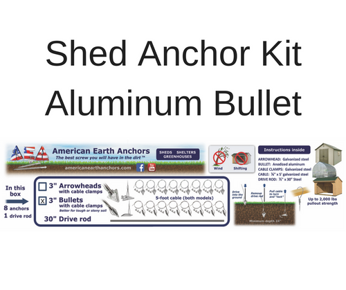 (3AL-60CC-B8) Shed Anchor Kit - Aluminum Bullet