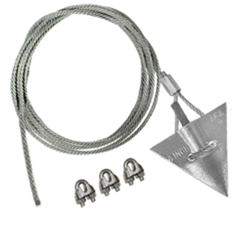 (4AL-60CC-Mil) MILITARY SPEC 4-inch aluminum arrowhead with 60-inch cable and cable clamps