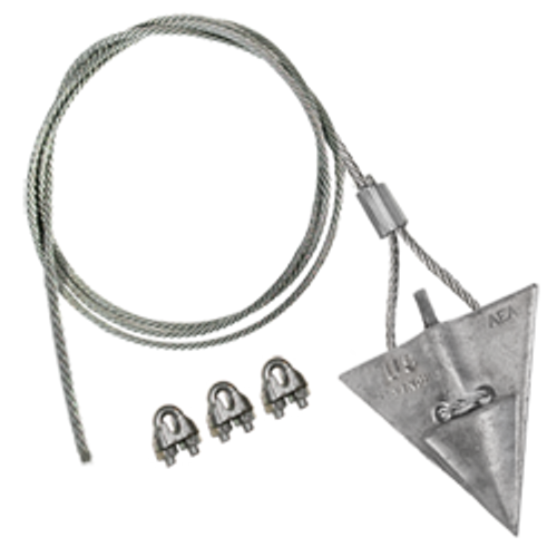 (8AL-60CC-Mil) MILITARY SPEC 8-inch aluminum arrowhead with 60-inch cable and cable clamps
