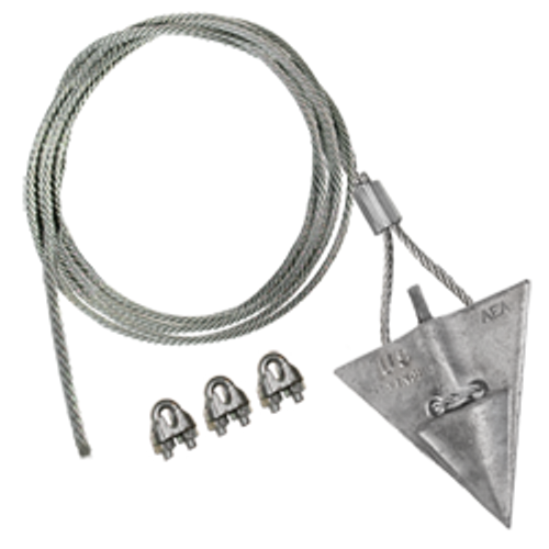 (10AL-72CC-Mil) MILITARY SPEC 10-inch aluminum arrowhead with 72-inch cable and cable clamps