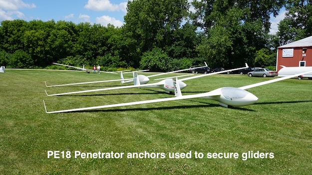 PE18 Penetrator anchors secure gliders to ground