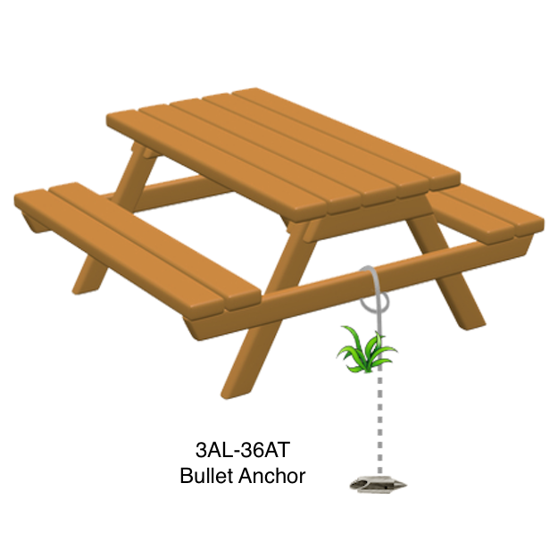 Anchor picnic tables with Bullets