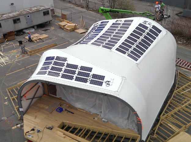 Portable solar-powered building anchored with Penetrators