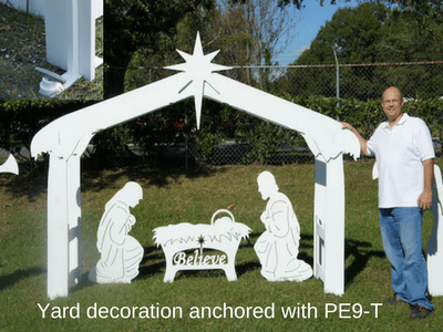 Anchor yard decoration with PE9-T