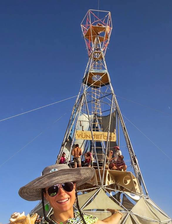 Zipline anchored at Burning Man with PE46-Guy