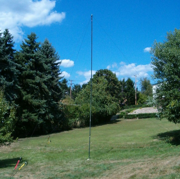 Anchor antenna with guying
