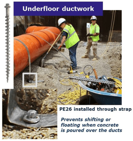 Penetrators anchor ductwork, pipes and tanks