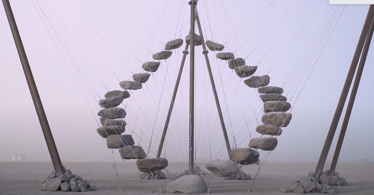Anchors used to secure Burning Man Sculpture made of steel and stone. PE46-Hex Penetrator