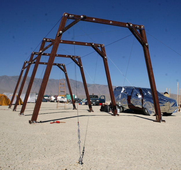 Burning Man structure guy anchored with PE26