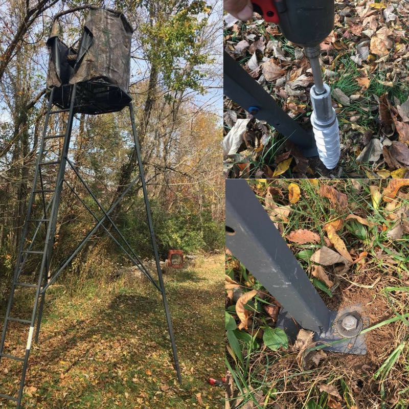 Hunting blind anchored with PE14 for deer stand