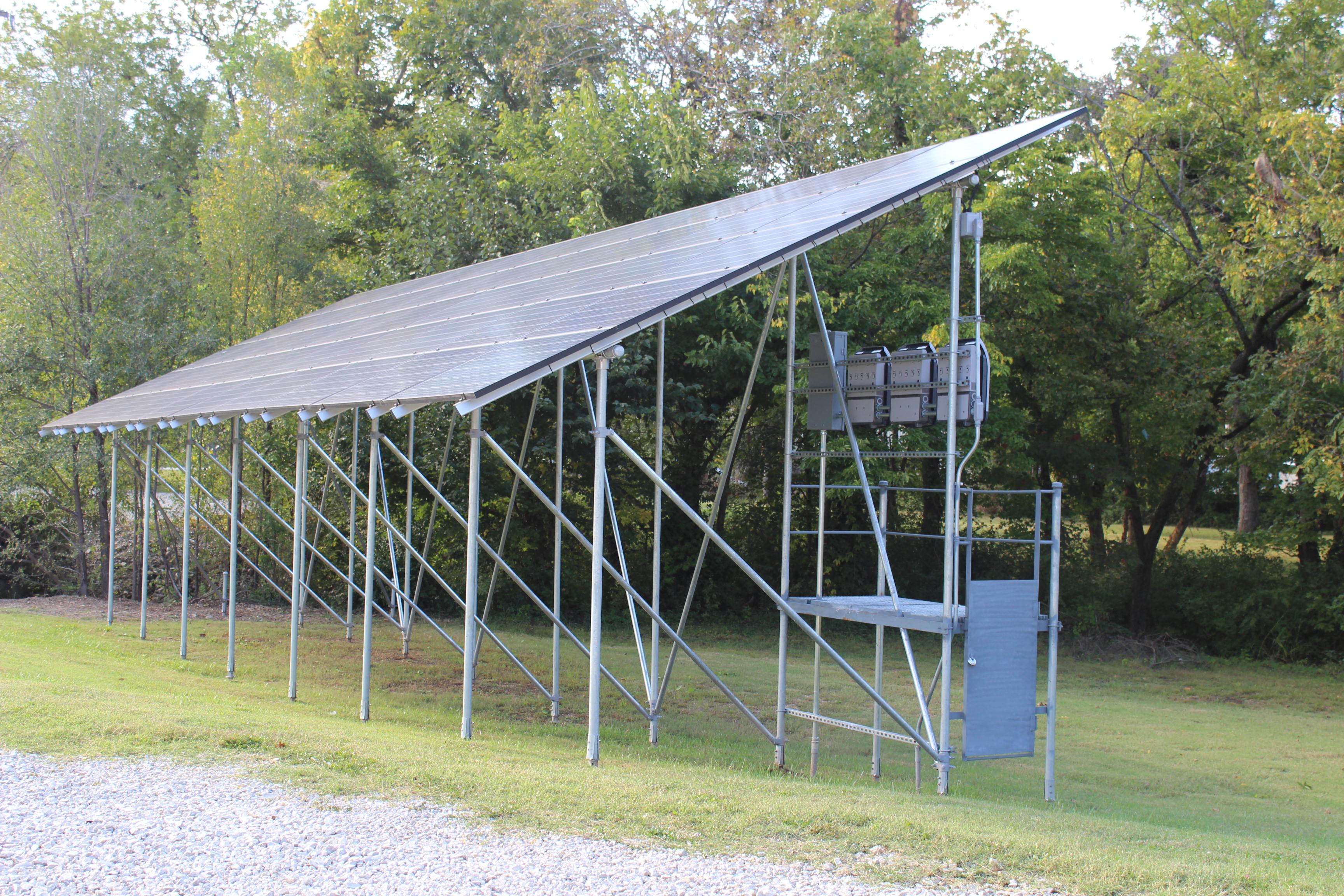 PE46-Hex Penetrators anchor solar ground mount instead of concrete footings