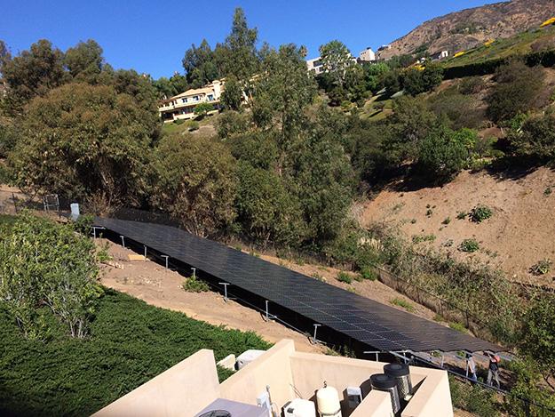 Solar installation on hillside anchored with Penetrators