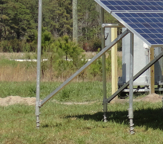 Solar ground mount using anchors instead of concrete footings
