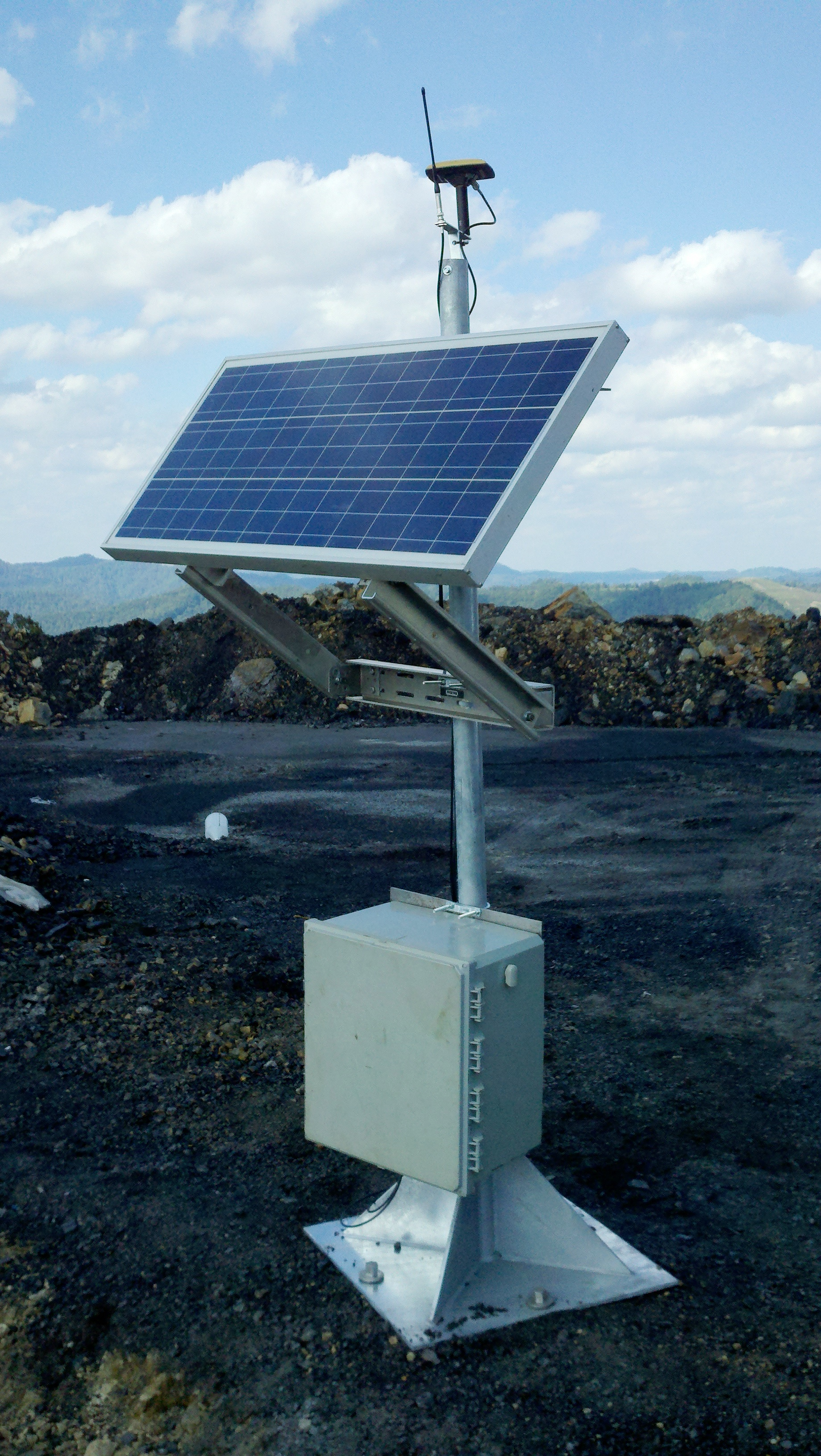 18-inch Penetrators securing a solar powered GPS base station